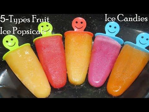 5-Fruit Ice Popsicles-Homemade Ice Candies-How to make Ice Candy-Ice pop Recipe-Ice sticks-Icecream