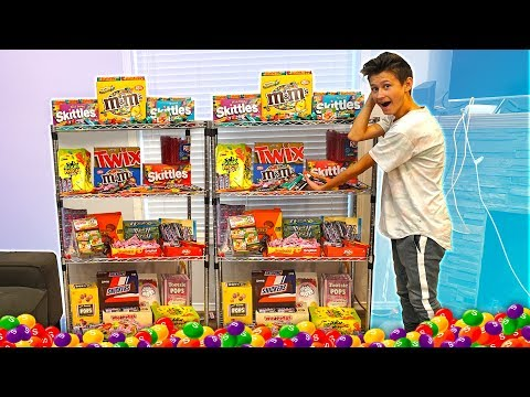 SURPRISING MY LITTLE BROTHER WITH A GIANT CANDY STORE IN MY HOUSE! ($1,000)