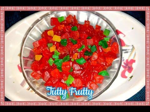 Tutti Fruiti  (Green Papaya Candy) recipe in Telugu – Indian Candied Fruit – DIY Papaya Tutti Frutti