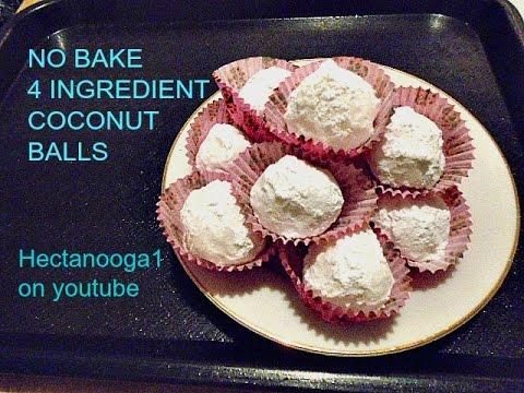 4 ingredient no bake coconut balls, cookies, candy, recipe,  vegan or not
