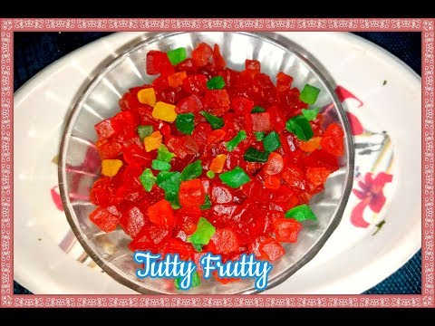Tutti Fruiti  (Green Papaya Candy) recipe in Telugu – Indian Candied Fruit – DIY Papaya Tutti Frutti